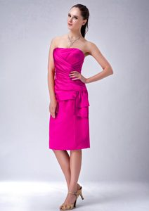 Hot Pink Strapless Knee-length Ruched Prom Cocktail Dress for Cheap