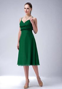 Hunter Green Spaghetti Straps Knee-length Ruched Flounced Prom Party Dress