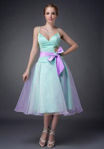 Spaghetti Straps Tea-length Aqua and Lavender Prom Pageant Dress with Bow