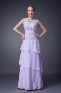 New V-neck Long Lavender Layered Chiffon Prom Dress with Appliques
