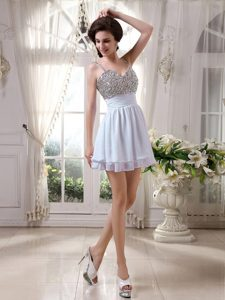 Affordable Spaghetti Straps Mini-length Chiffon Prom Outfits with Beading