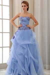 A-line Sweetheart Appliqued Cheap Ruched Tulle Prom Attires in Light Blue