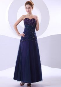 Blue Ankle-length Beaded Pretty Prom Gown Dresses and Taffeta