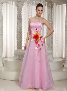 Beaded Organza Baby Pink Strapless Low Price Prom Dress in Floor-length