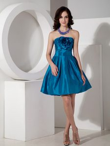 Teal A-line Strapless Mini informal Prom Dress with Flowers on Sale