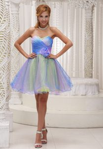Ombre Color Sweetheart Organza Prom Girl Dress for Cheap with Ruching