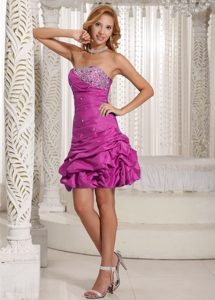 Beautiful Strapless Beaded Fuchsia Dress for Prom in Mini-length