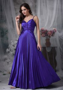 Purple A-line Straps Cute Prom Dresses in Elastic Woven Satin with Pleats