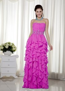Inexpensive Hot Pink Empire Strapless Beaded Dresses for Prom