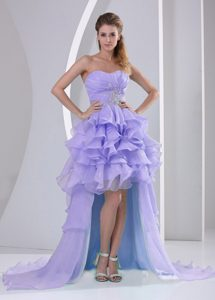 Lilac Organza High Low Sweetheart Prom Dresses for Cheap with Ruffles