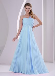Baby Blue One Shoulder Empire Prom Dress with Pleat for Wholesale Price