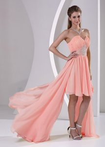 High Low Beaded Chiffon Watermelon Cheap Prom Dress with Sweetheart