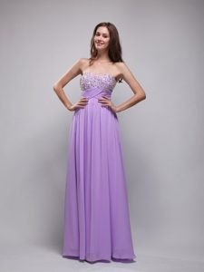 Empire Strapless Long Chiffon Nice Senior Prom Dresses in Lavender