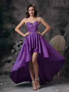 Beautiful Purple Sweetheart High Low formal Prom Dresses with Appliques