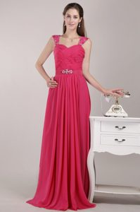 Red Straps Long Chiffon Low Price Dresses for Prom with Beading