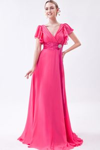Empire V-neck Cheap Brush Train Ruched Chiffon Prom Attires in Hot Pink