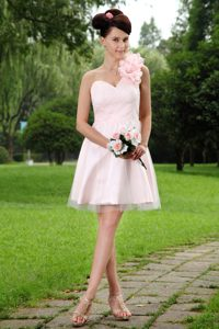 Sweet Light Pink A-line One Shoulder Mini-length Prom Gown with Flowers