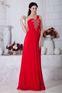 Red Empire Beaded One Shoulder Prom Dresses in Long on Sale