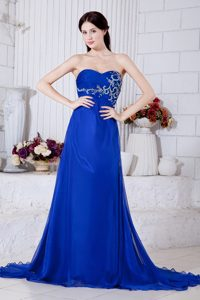 Royal Blue Sweetheart Chiffon Prom Gown Dress for Cheap with Embroidery