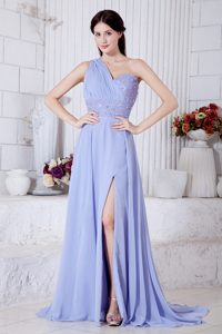 Lilac Empire One Shoulder Prom Dresses with Beading for Wholesale Price