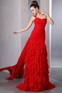 Bright Red One Shoulder Watteau Train Cheap Prom Gowns with Ruffles