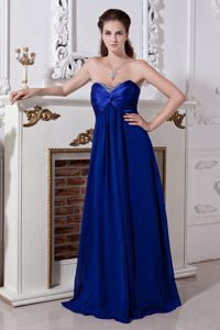 Sweet Beaded Empire Sweetheart Long Prom Dresses in Royal Blue