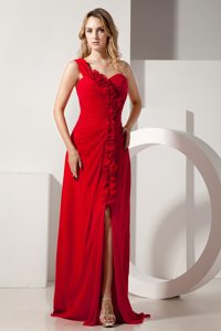 Inexpensive Red Empire One Shoulder Chiffon Dress for Prom with Flowers