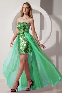 Green Strapless High Low Chiffon Cheap Prom Outfits with Sequins