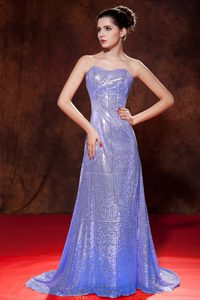 Empire Sweetheart Sequined Brush Train Prom Dresses for Cheap in Lilac