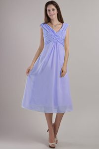 Lilac Empire V-neck Chiffon Prom Dress in Ankle-length for Wholesale Price