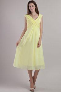 Custom Made Light Yellow Empire V-neck Prom Dress for Summer