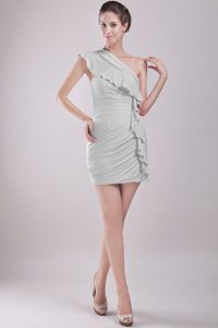 Cheap Grey One Shoulder Mini-length Prom Dresses with Ruching