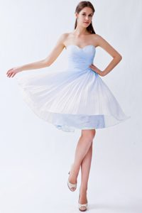 Empire Sweetheart Knee-length Cheap Light Blue Prom Outfits with Pleats
