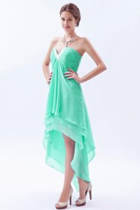 Nice Princess V-neck High Low Beaded Chiffon Prom Dress in Apple Green