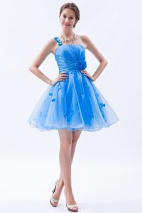 Blue Mini-length One Shoulder Cute Organza Prom Gowns with Appliques