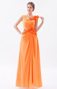 Sweet Sheath Asymmetrical Chiffon Long Prom Dresses in Orange