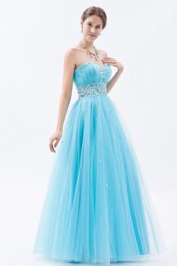 Baby Blue A-line Lovely Sweetheart Tulle Prom Gown Dress with Baby Blue