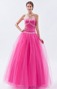 Inexpensive Princess Sweetheart Tulle Prom Dress for Summer in Hot Pink
