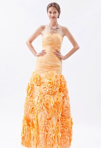 Orange Mermaid Sweetheart Low Price Prom Girl Dress with Rolling Flower