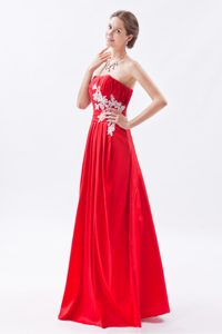 Discount Red Strapless Junior Prom Dresses with Appliques