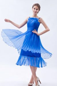 Empire Straps Ruched Tea-length Senior Prom Dress in Blue on Promotion
