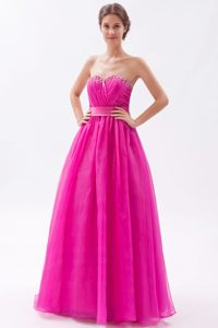 Custom Made Hot Pink A-line Sweetheart Dresses for Prom in Floor-length