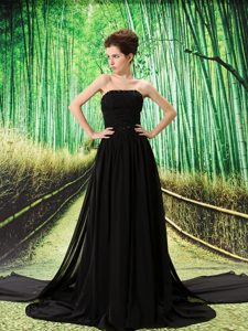 Empire Black Chiffon Cute Strapless Empire formal Prom Dress with Beading