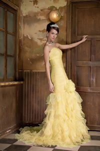 Gold Mermaid Sweetheart Brush Train Prom Gown for Cheap with Ruffles