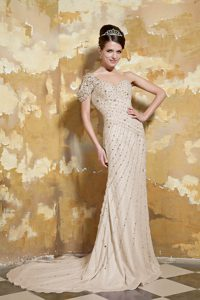 Grey One Shoulder Prom Dress with Brush Train for Wholesale Price