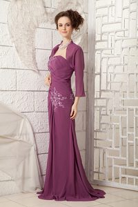 Cheap Dark Purple One Shoulder Prom Gown Dress with Appliques
