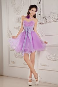 2015 Lavender A-line Sweetheart Mini-length Organza Prom Homecoming Dress