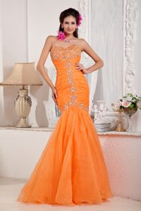 Orange Mermaid Sweetheart Organza Beaded and Ruched Prom Dress for Cheap