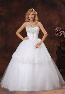 Gorgeous Beaded and Embroidered Sweetheart Long Tulle Wedding Dress