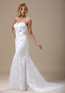 Popular Sweetheart Mermaid Lace-up Wedding Reception Dresses with Sash